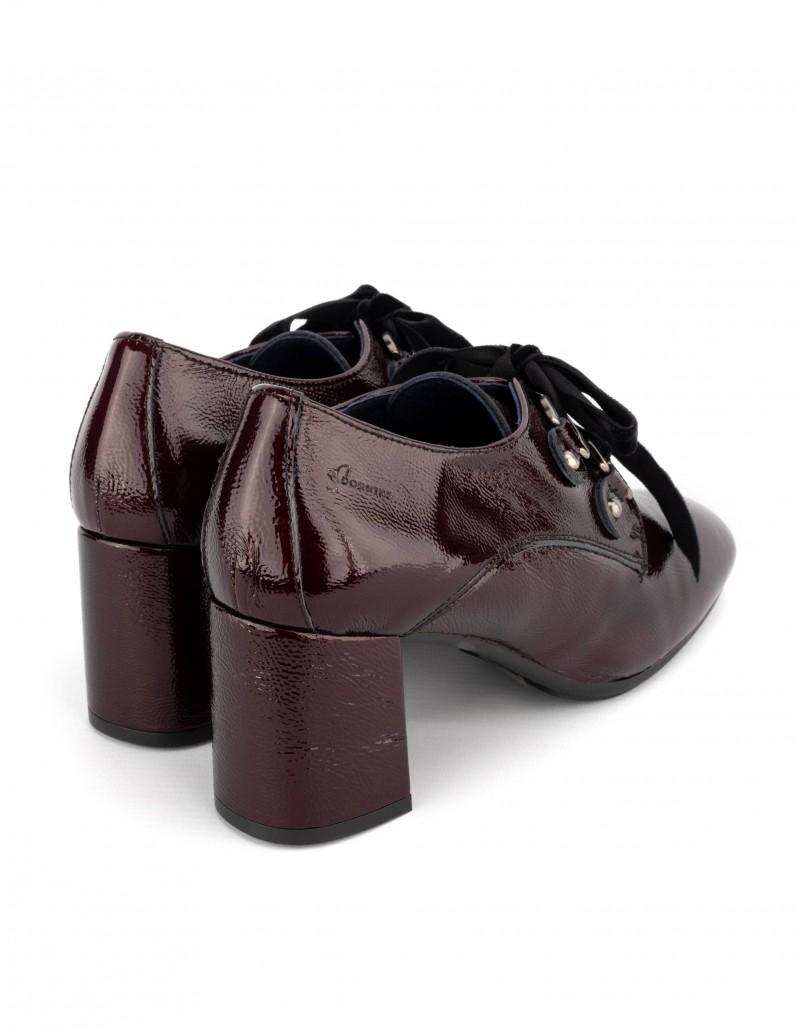 zapatos oxford tacon charol burdeos