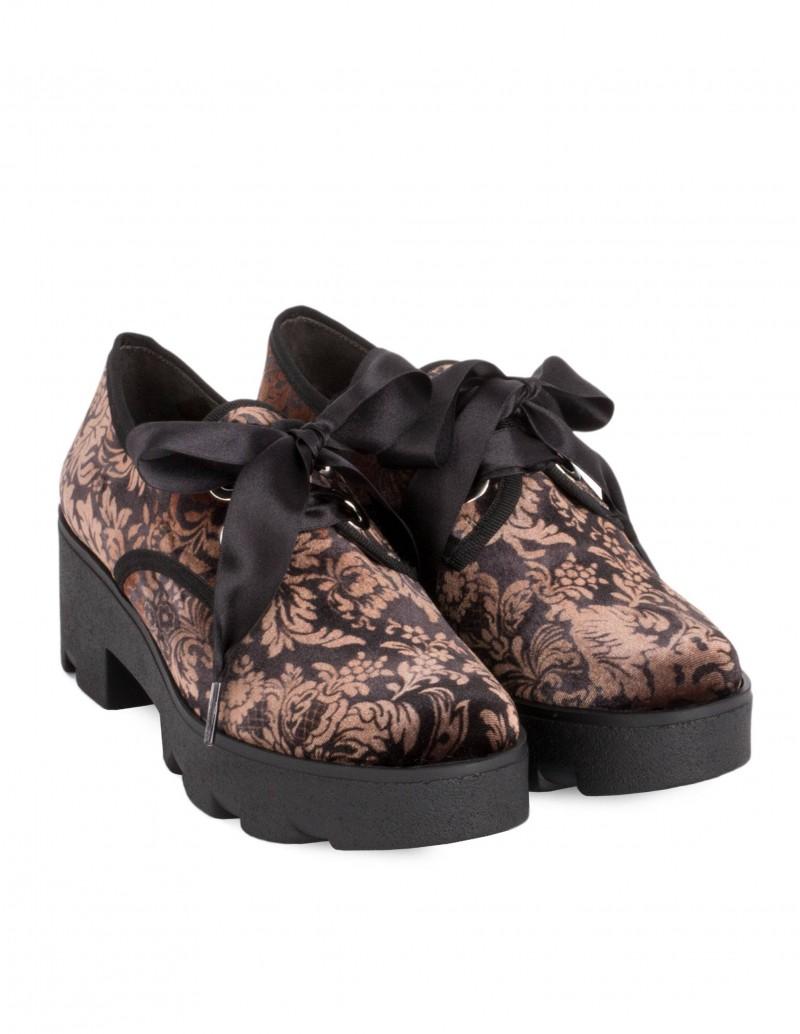 zapatos blucher terciopelo flores