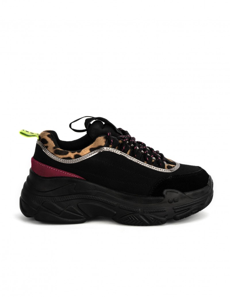 chunky sneakers negras plataforma coolway