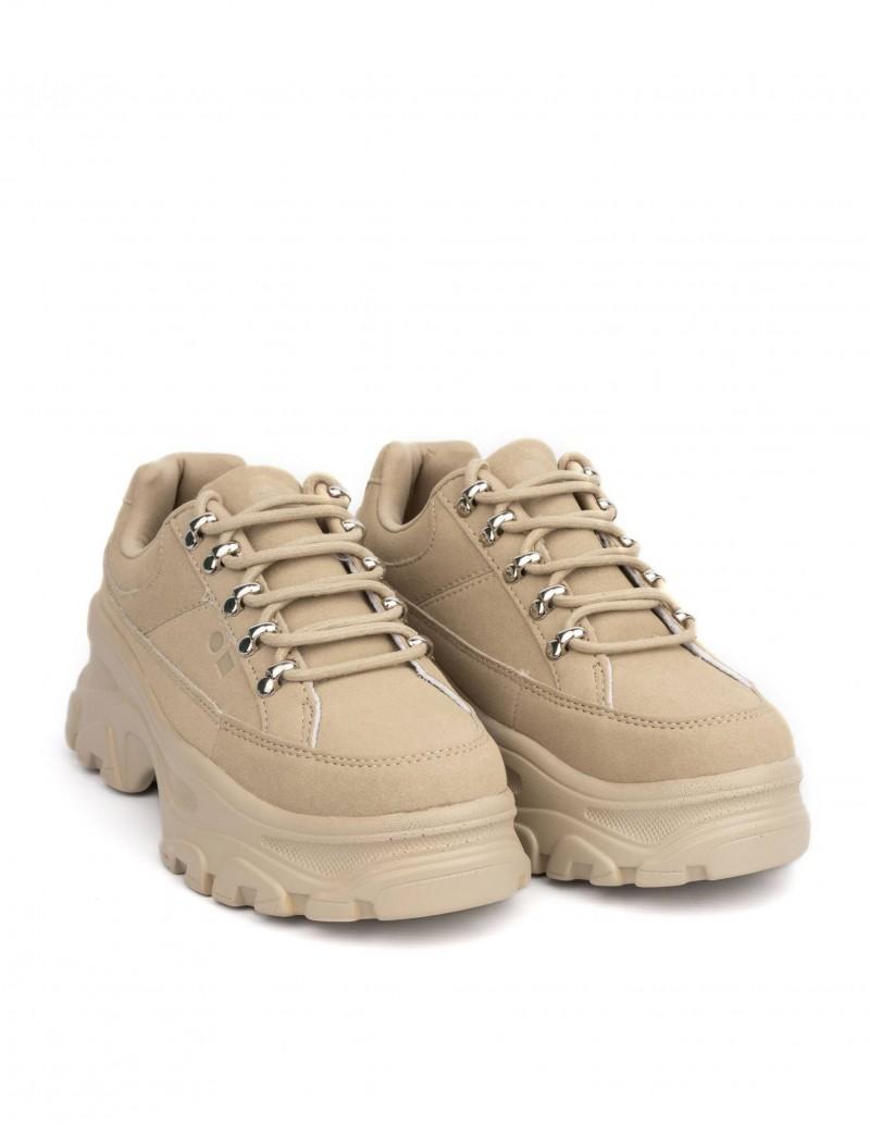 zapatillas chunky beige mujer