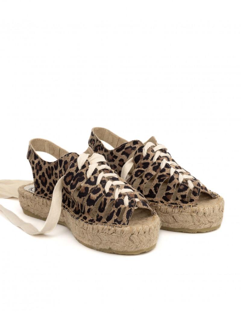 Cangrejeras Piel Leopardo suela esparto