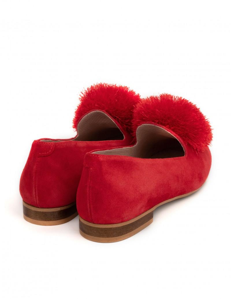 Bailarinas Planas Pompón Rojo