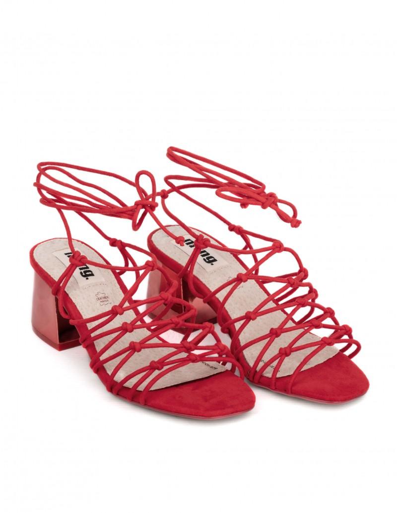 sandalias tiras cordon rojas