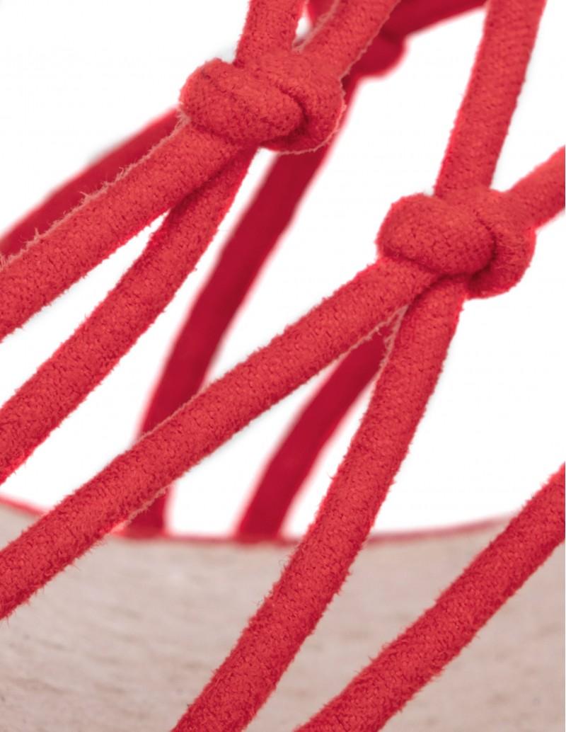 sandalias rojas tiras cordones