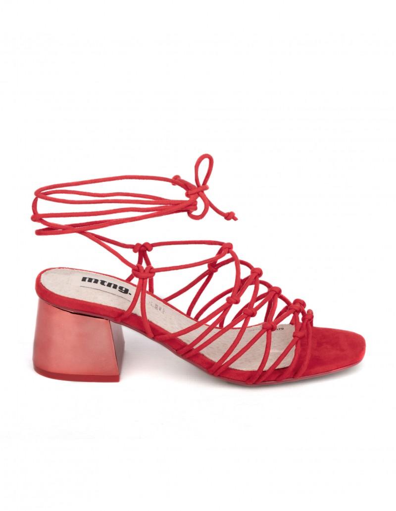 mustang sandalias cordones tacón rojas