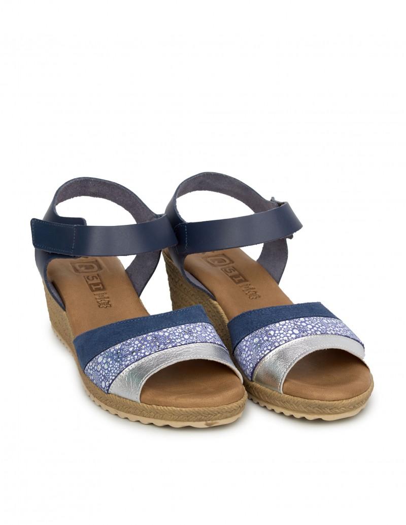Cuña Pera Sandalias Azules Limonera Velcro Mujer nw8O0XPk