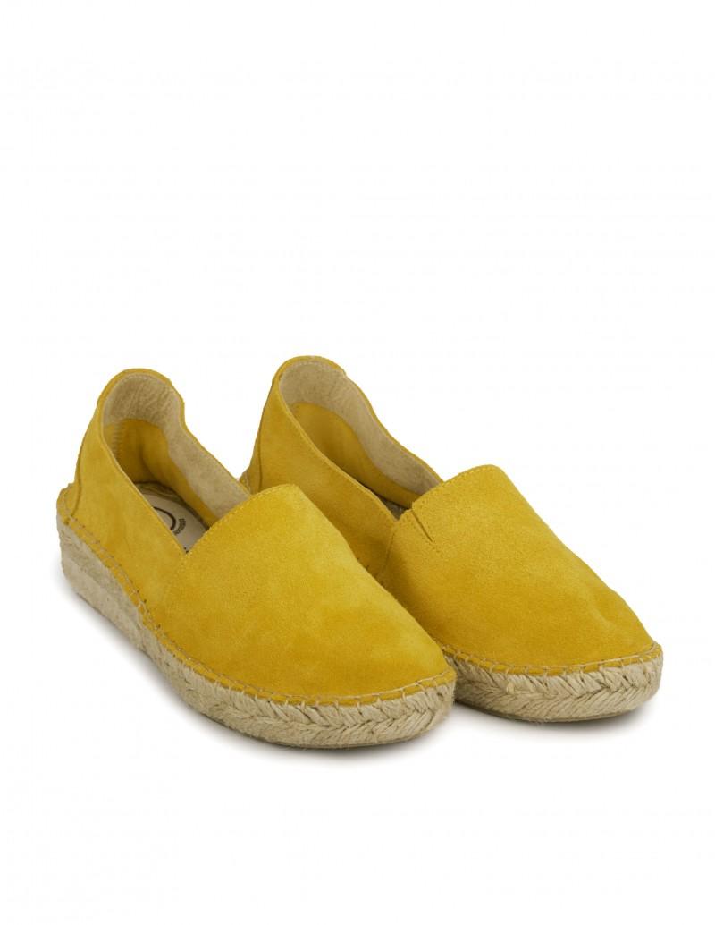 alpargatas cuña cerradas amarillo