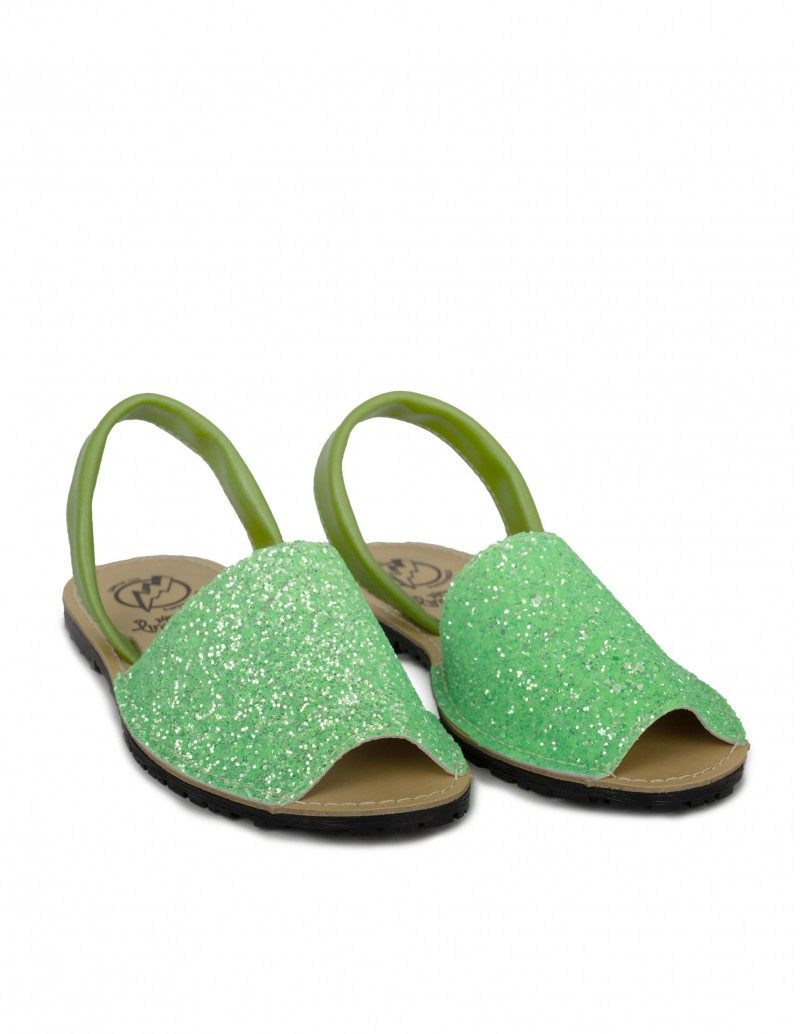 menorquinas mujer verde glitter