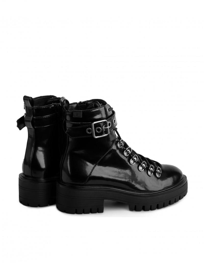 botas militares mujer charol