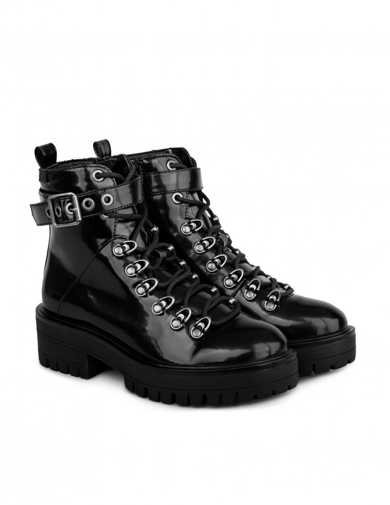 botas charol mujer estilo militar