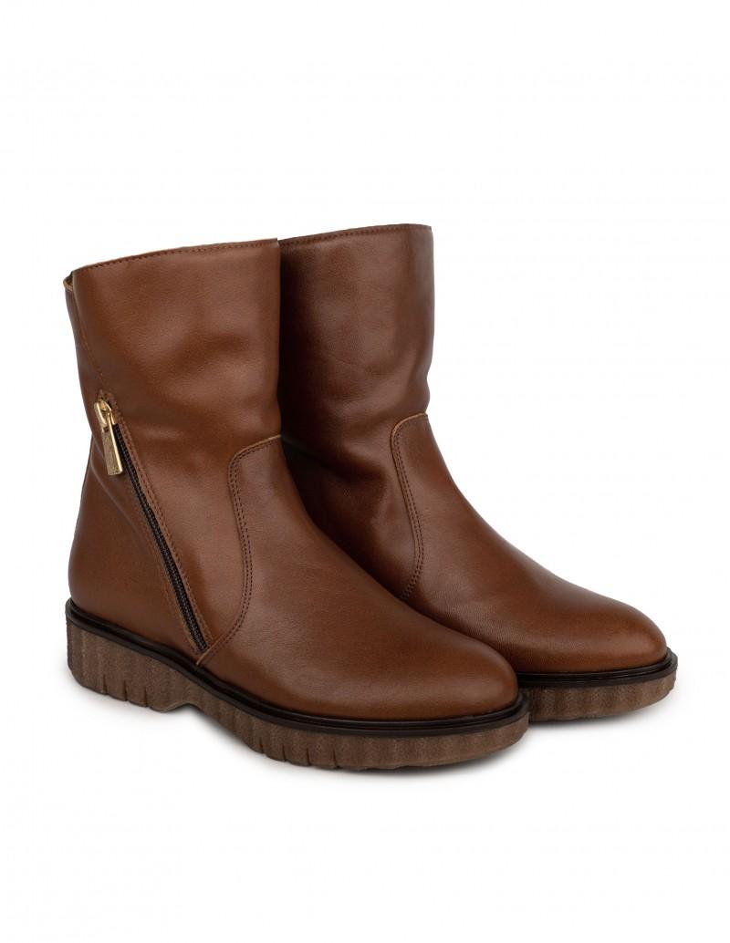 botas marrones piel media caña mujer