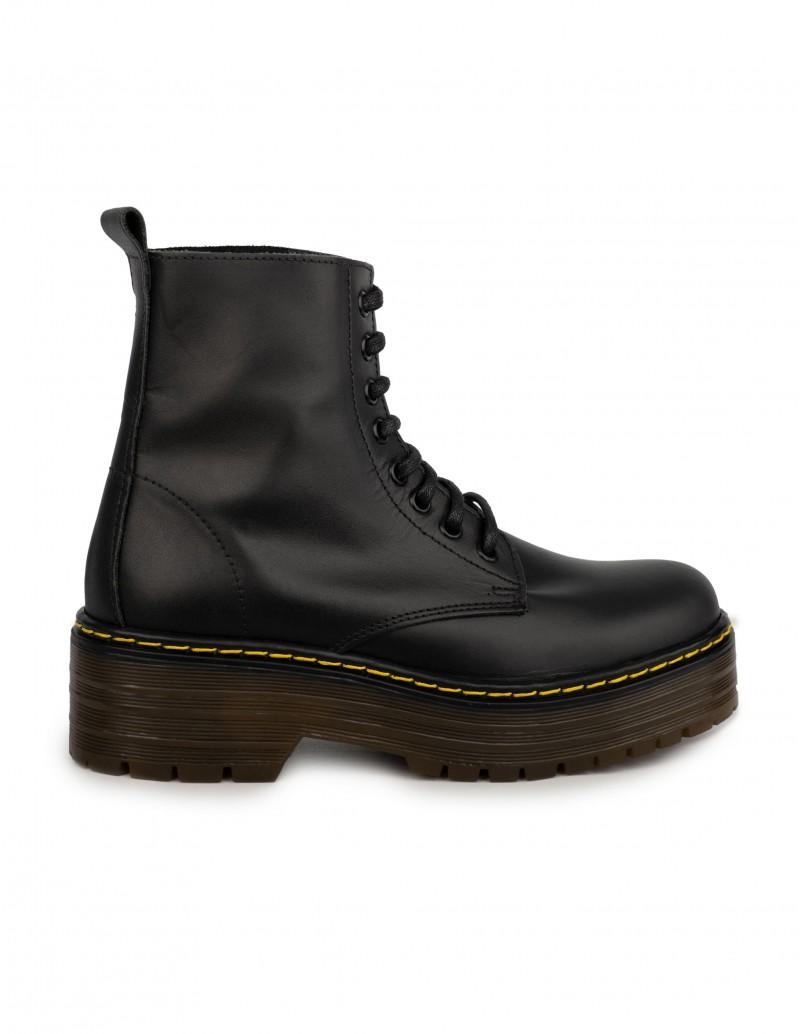 botas militares piel doble suela mujer