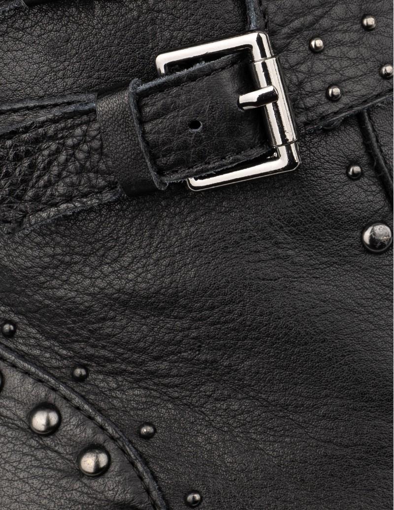 botas moteras piel negra