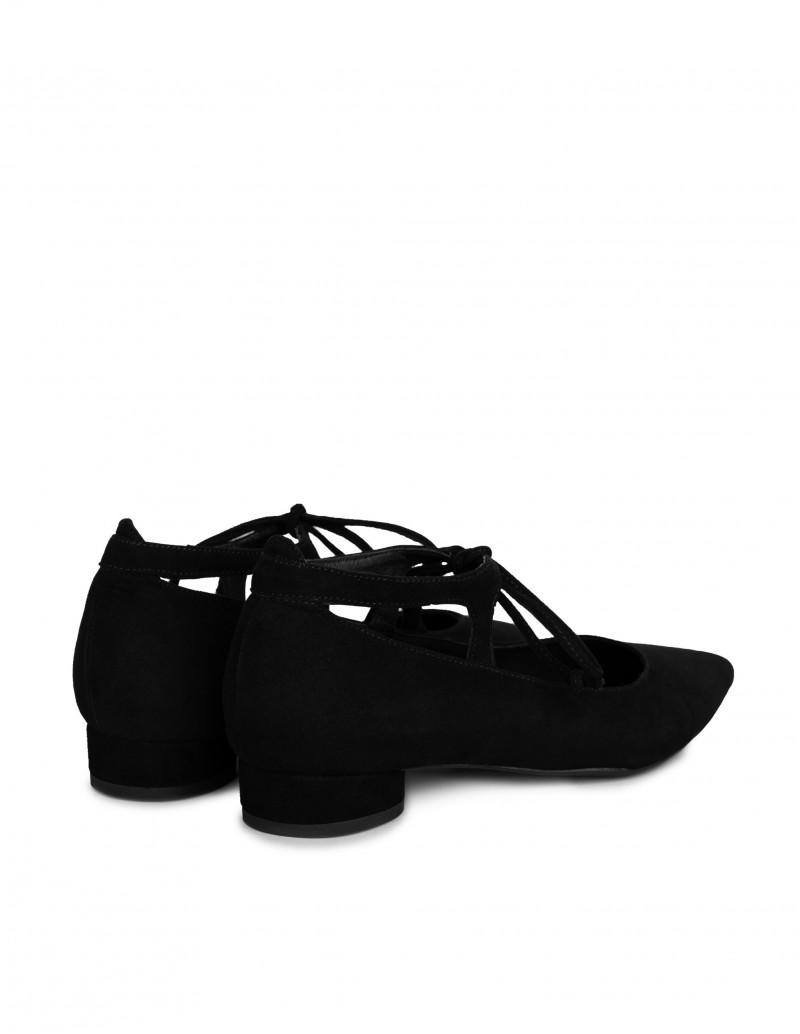 bailarinas negras cordones mujer