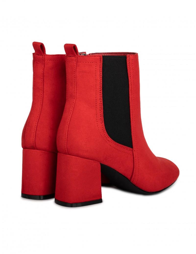 botines rojos tacón cuadrado