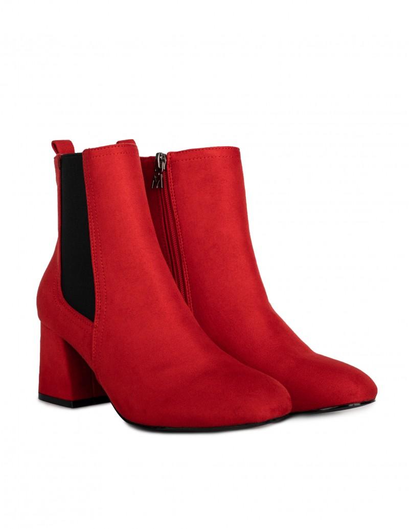 botines tacón rojos mujer