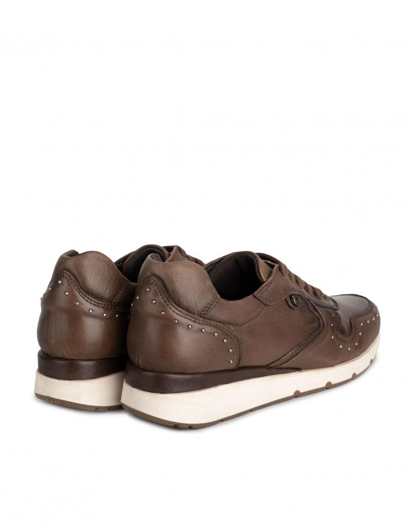 zapatillas cuero marrón mujer