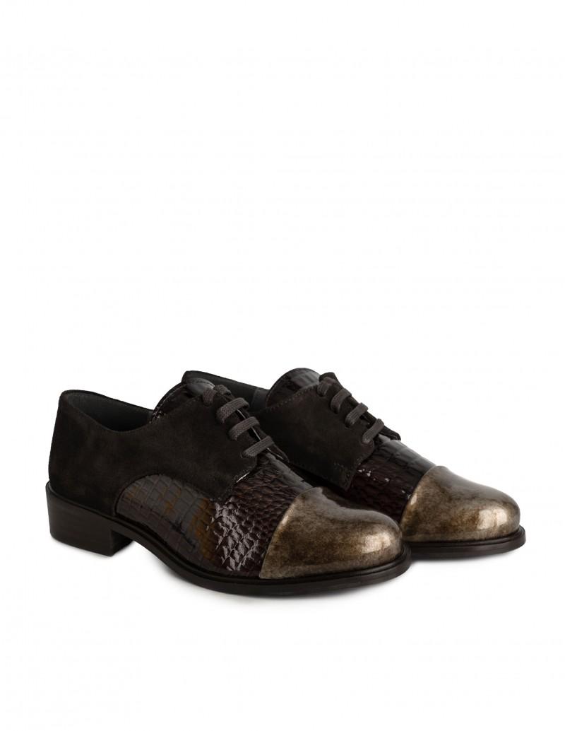 zapatos charol marrón mujer