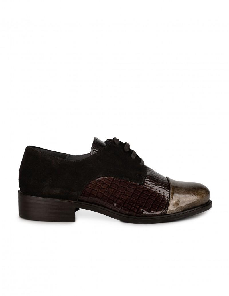Salonissimos Zapatos Cordones Charol Marrón