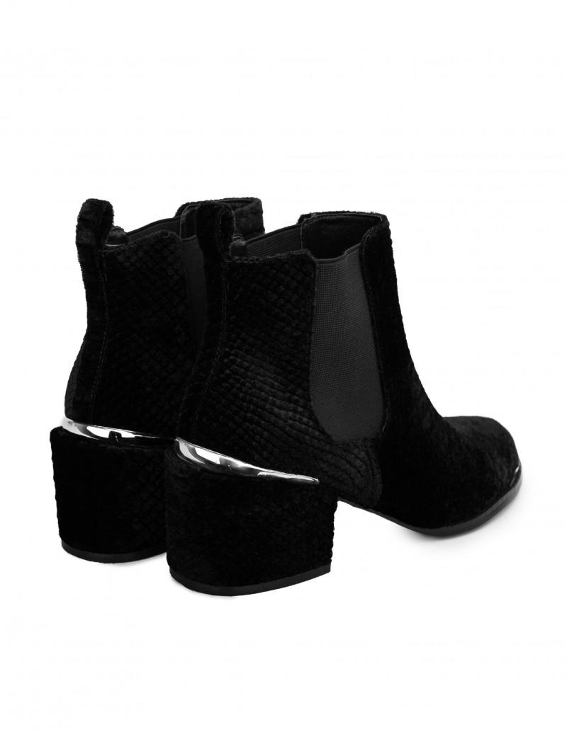 botines negros terciopelo mujer