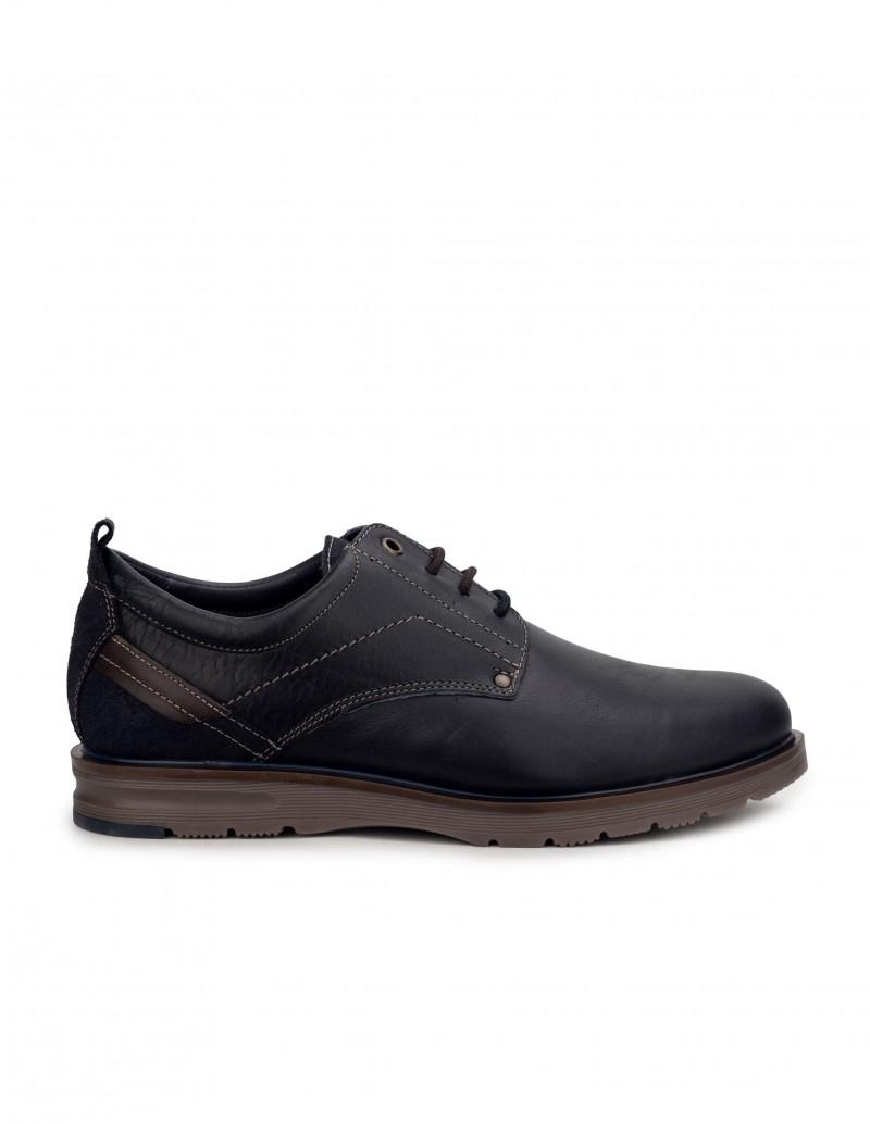 Zapatos Piel Cordones Azul
