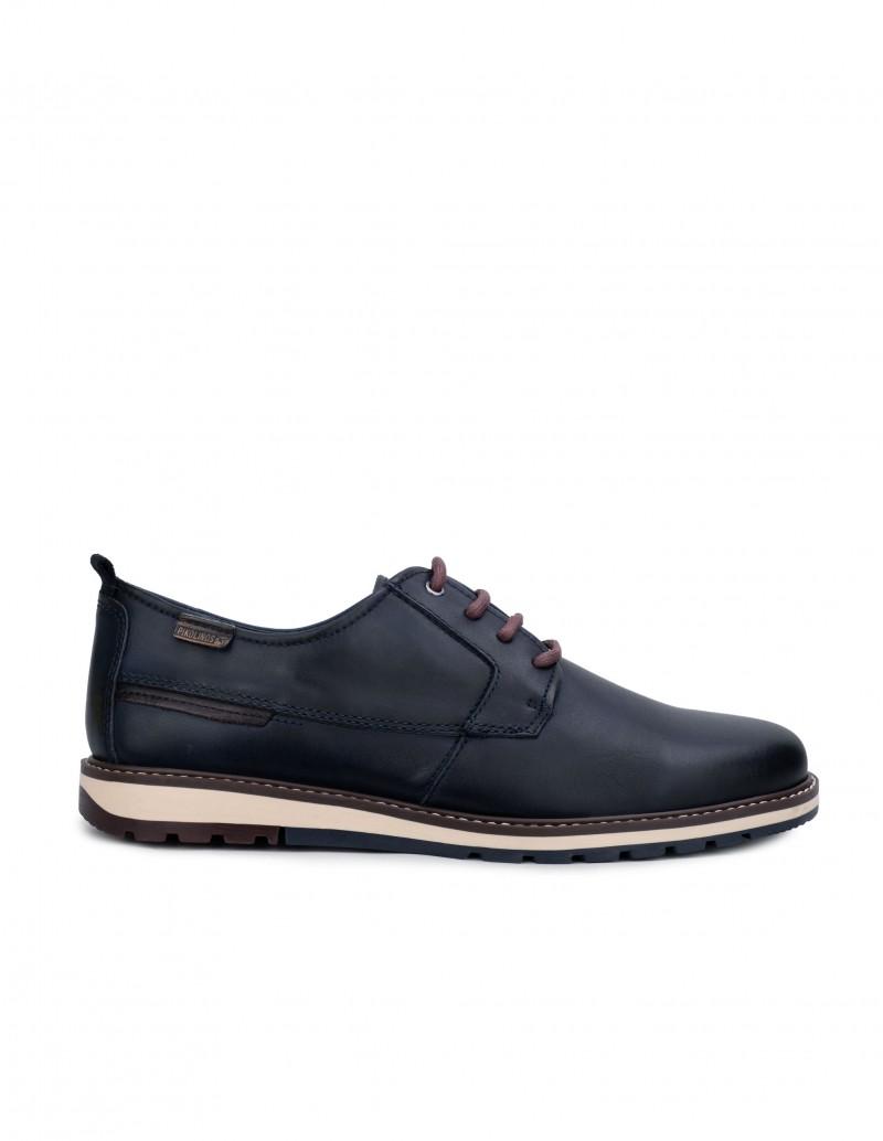 Pikolinos Zapatos Piel Azul Cordones