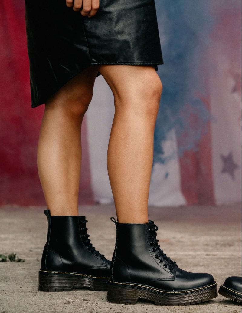 botines militares mujer negros