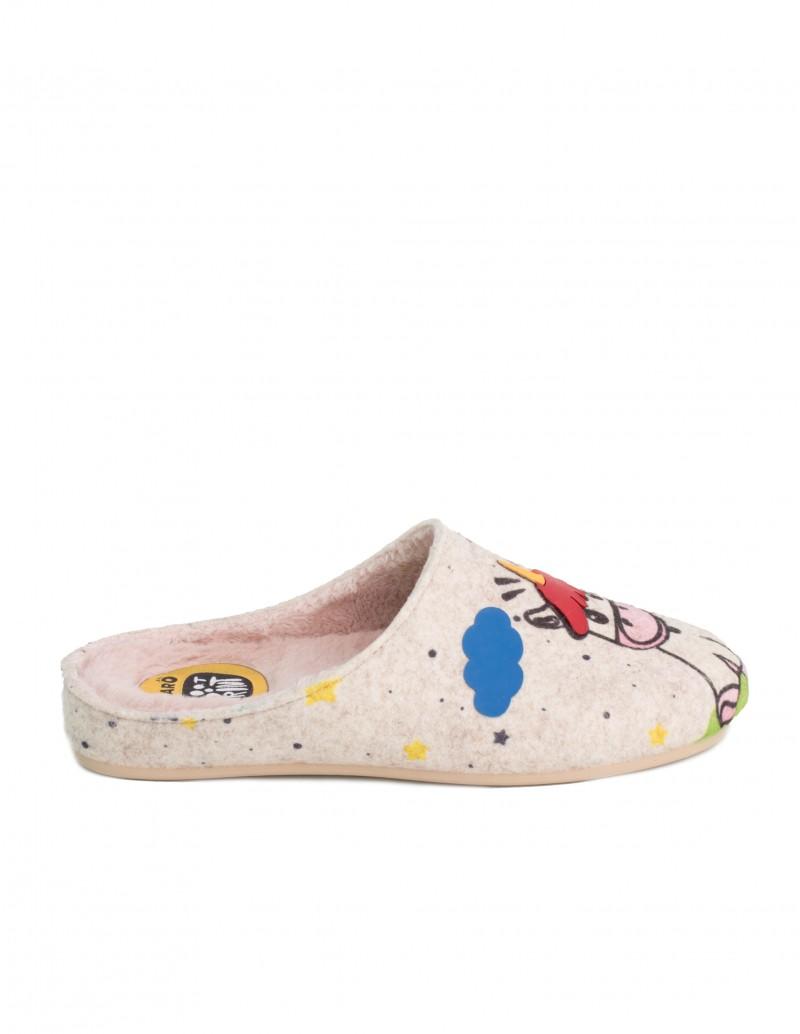 zapatillas casa unicornio beige