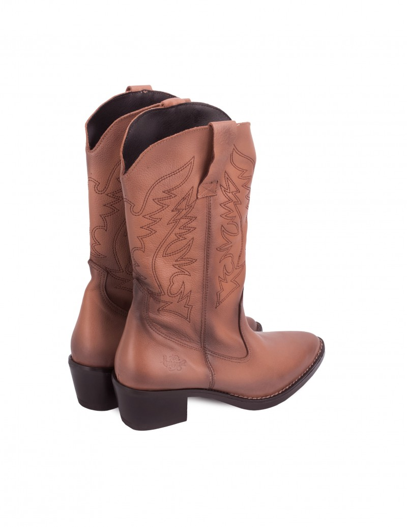 Botas Cowboy Cuero Mujer Marrón