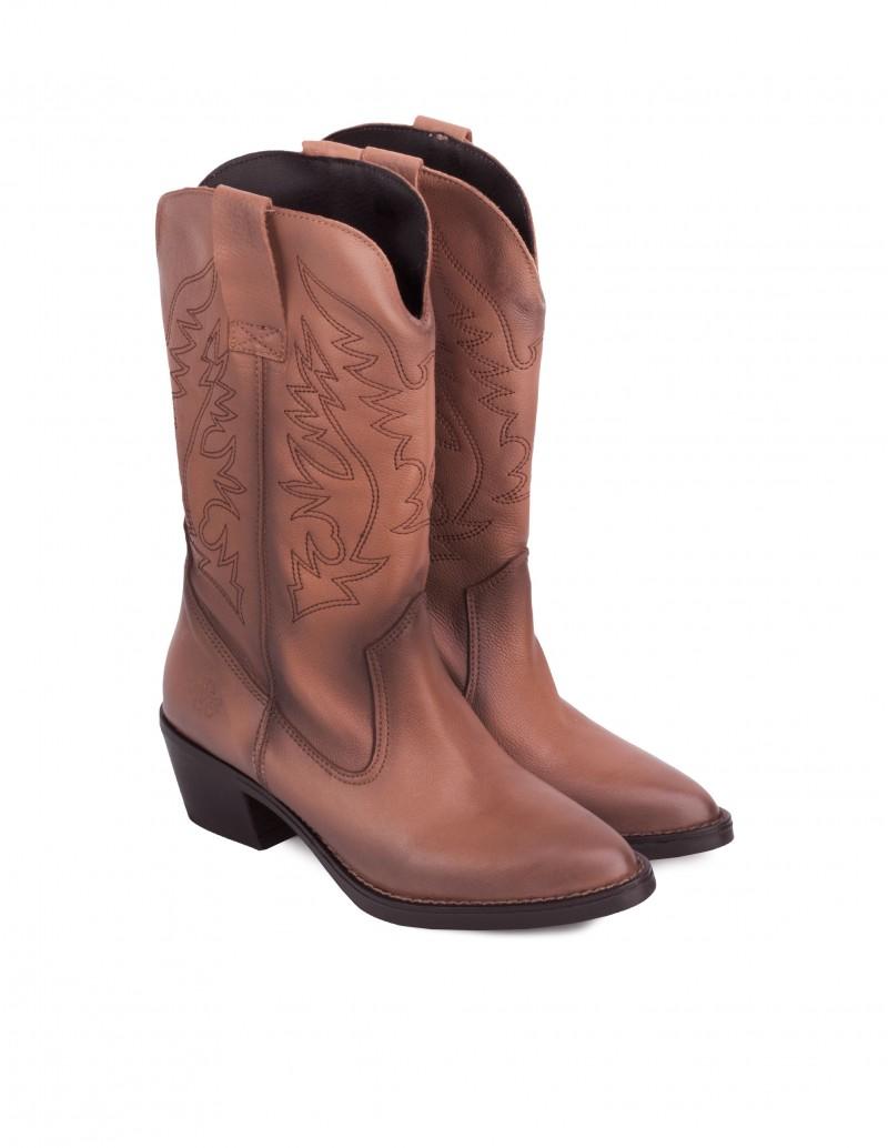 Botas Cowboy Marrones Mujer