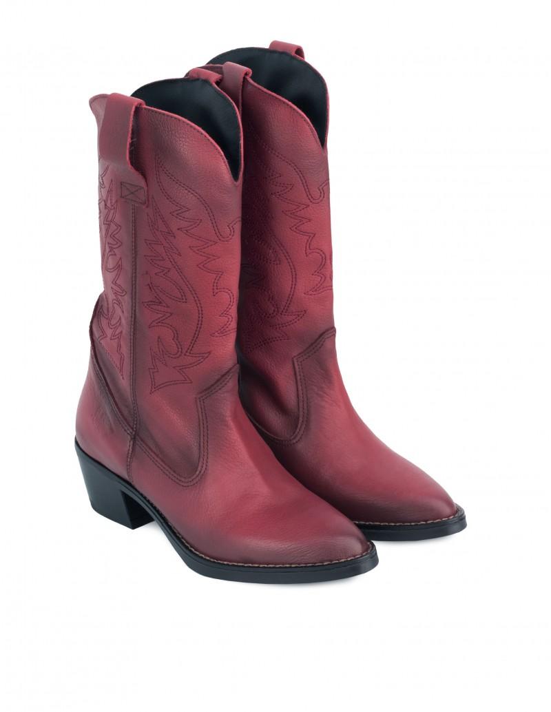 Botas Cowboy Burdeos Mujer