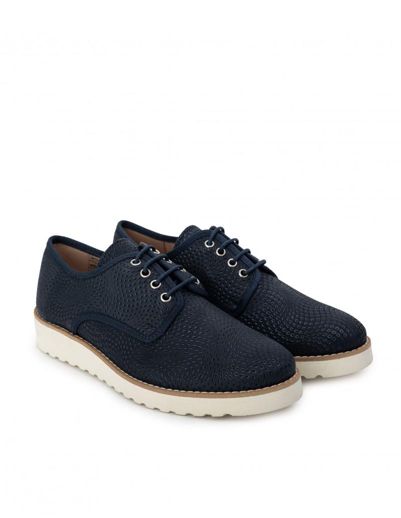 Zapatos Cordones Mujer Azul Marino