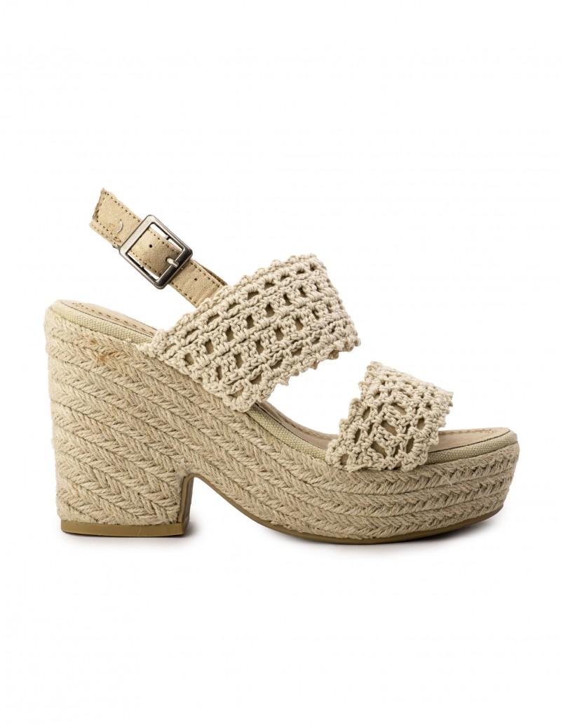 Sandalias Crochet Tacón Esparto