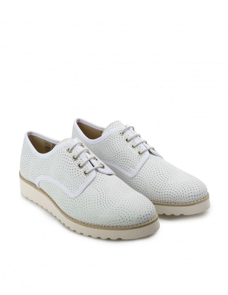 zapatos cordones mujer plateados