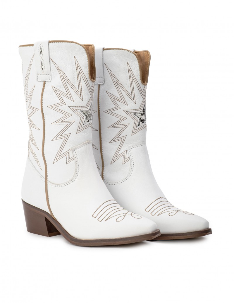 Botas Cowboy Blancas Mujer