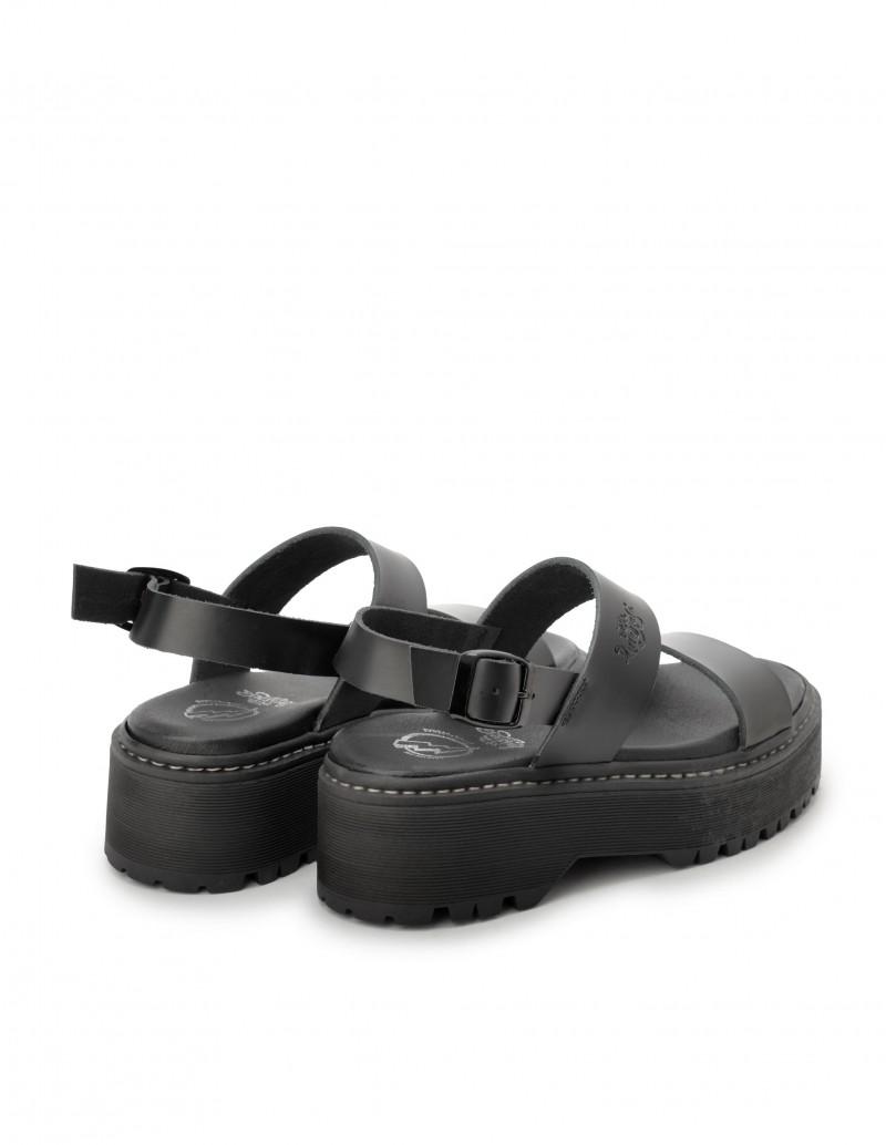 sandalias plataforma plana tiras negras