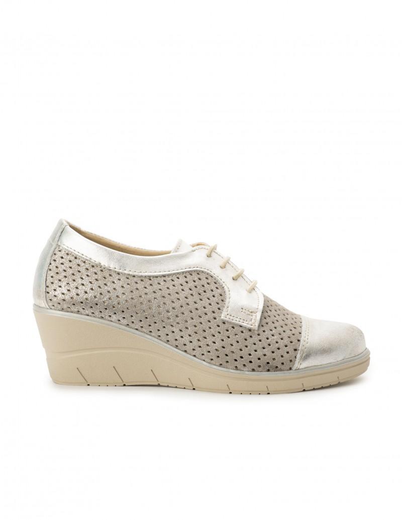 Zapatos Cordones Cuña Beige