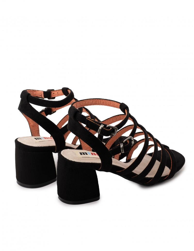 sandalias tiras negras tacón