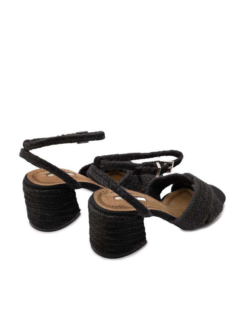 sandalias tacón rafia negras
