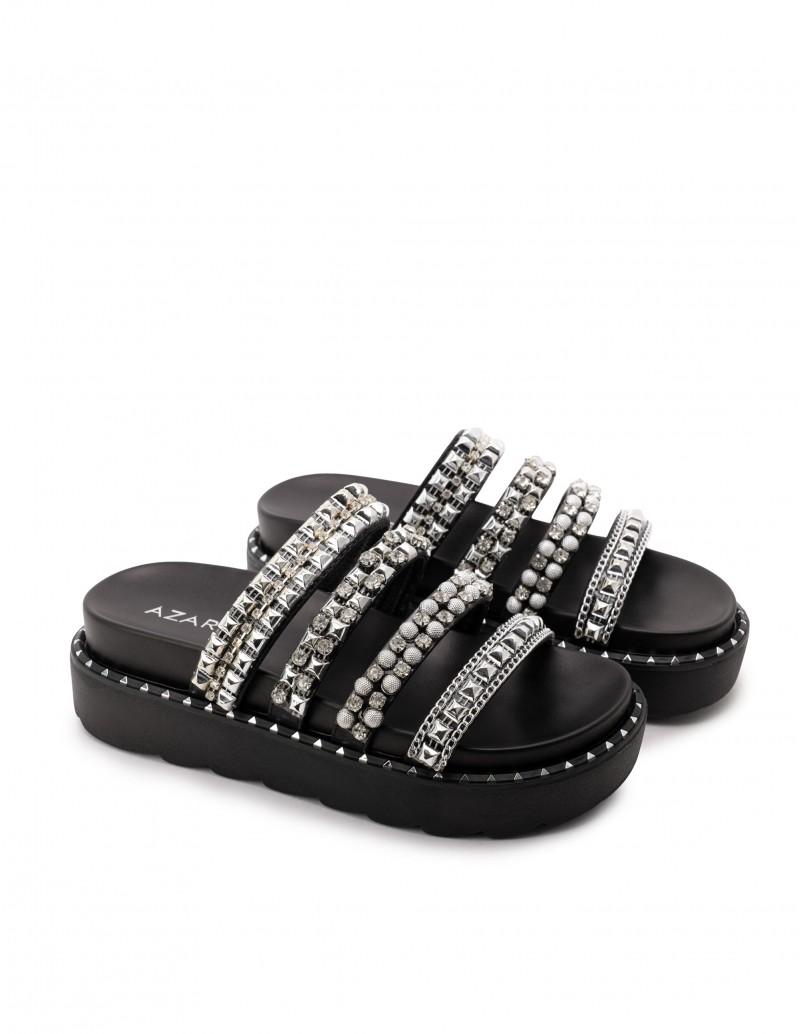 Sandalias Negras Tiras Pedrería