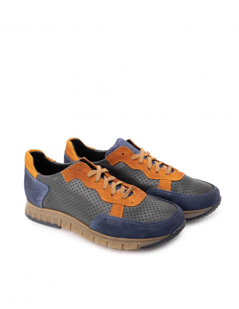 Zapatos Sport Hombre Piel Azul