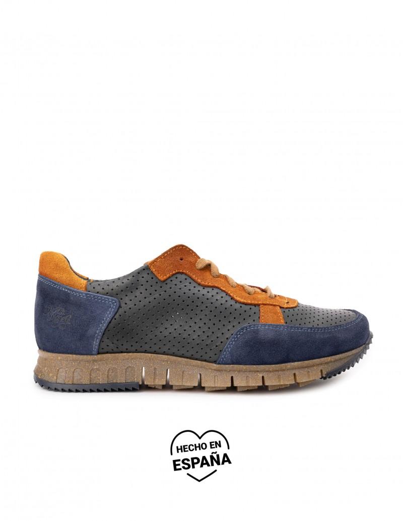 Zapatos Sport Piel Azul