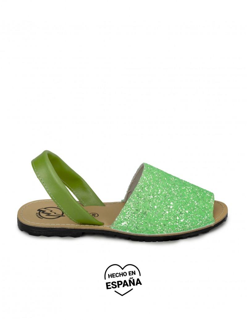 menorquinas glitter verde