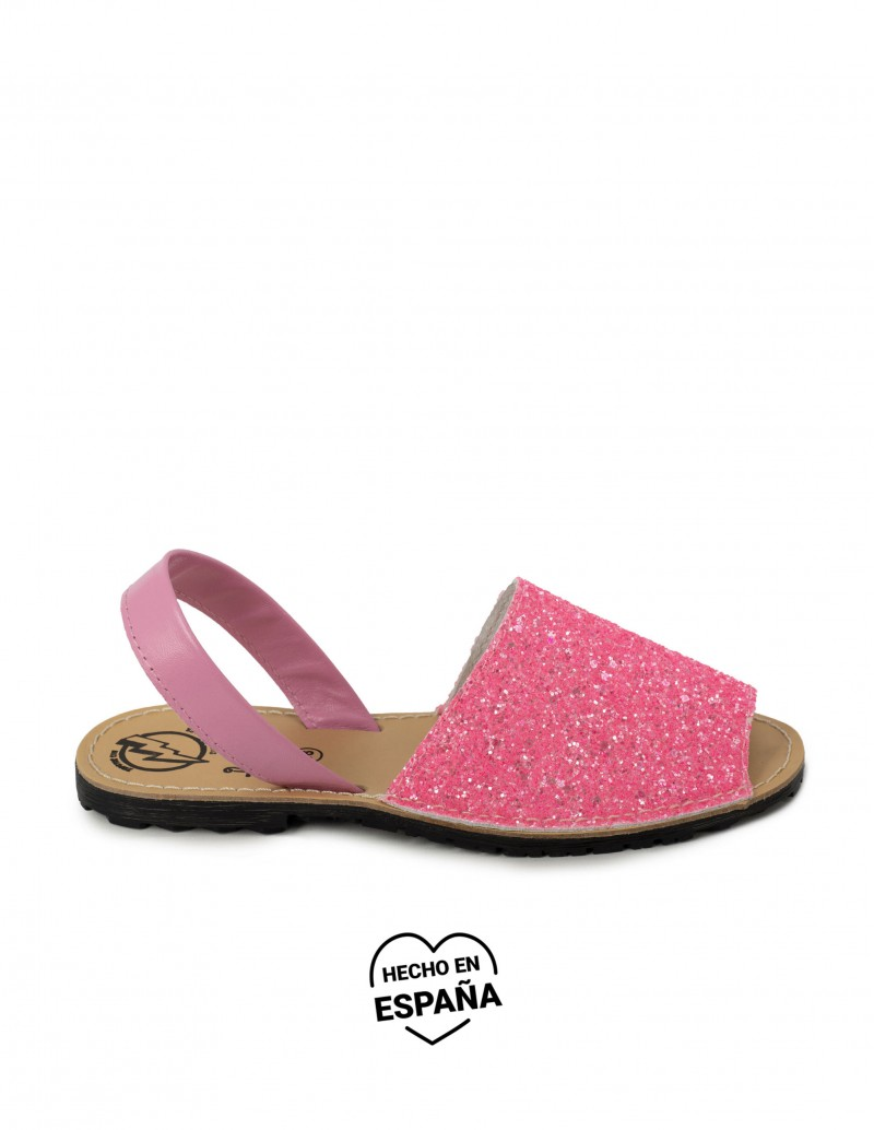 menorquinas glitter rosa mujer