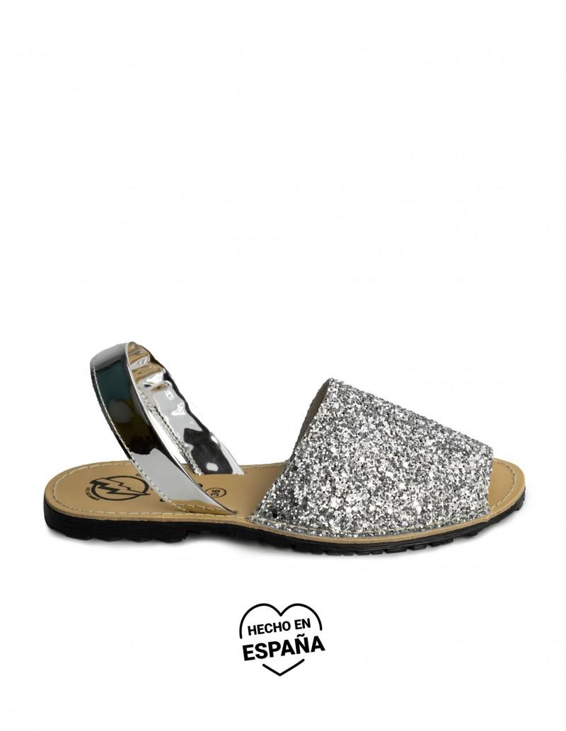 menorquinas glitter plata mujer