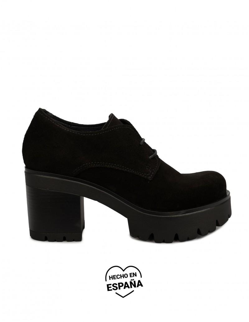 Zapatos Cordones Plataforma Serraje PERA LIMONERA