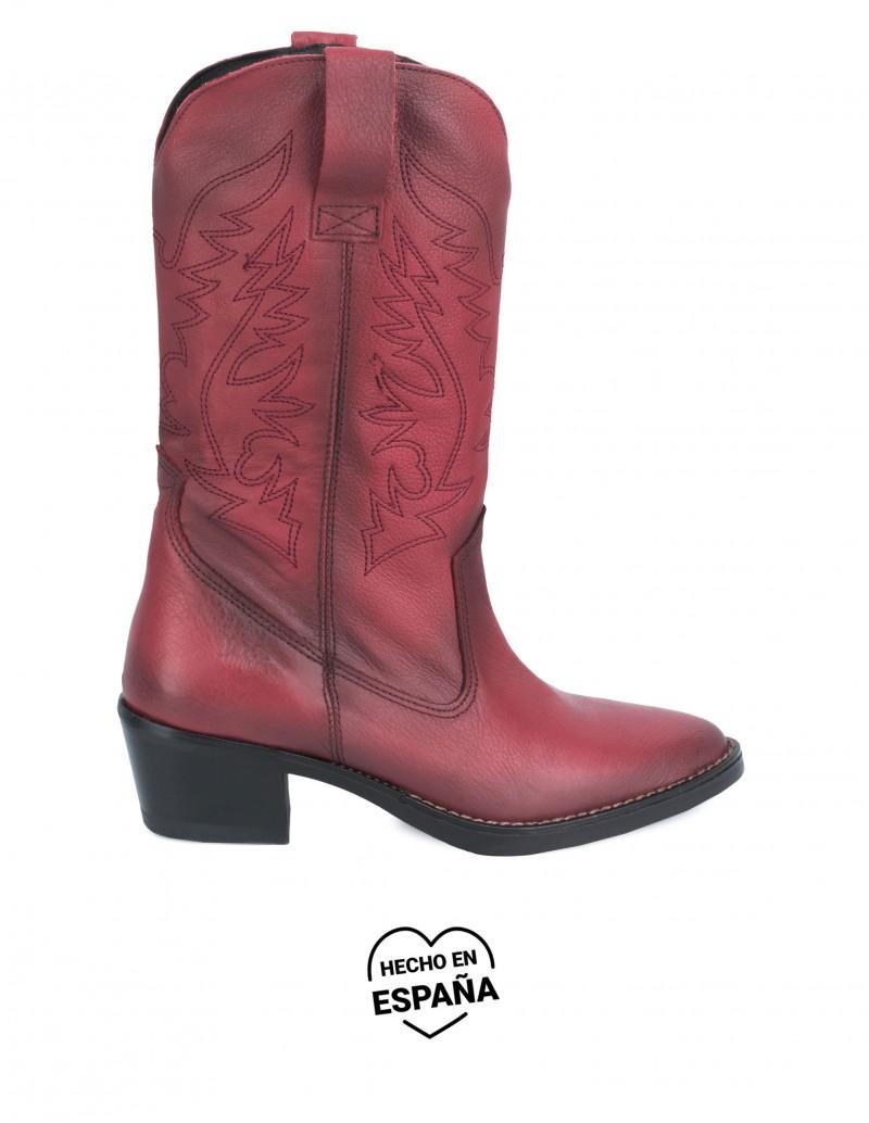 Botas Cowboy Piel Burdeos