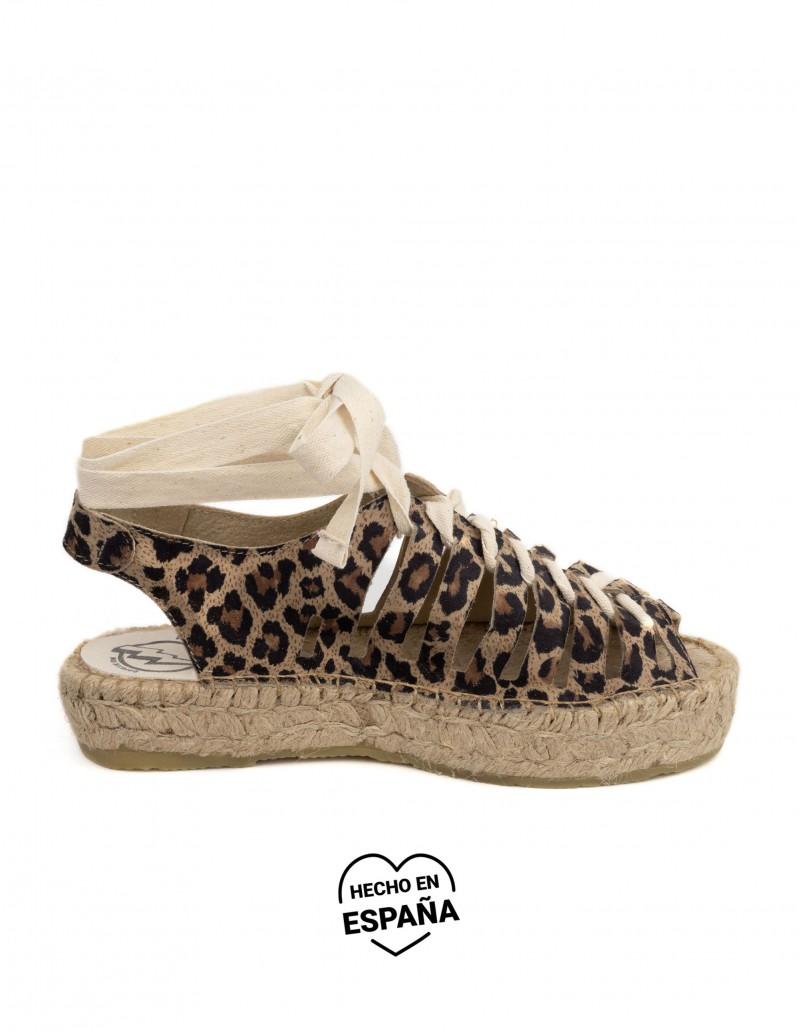 sandalias leopardo plataforma esparto