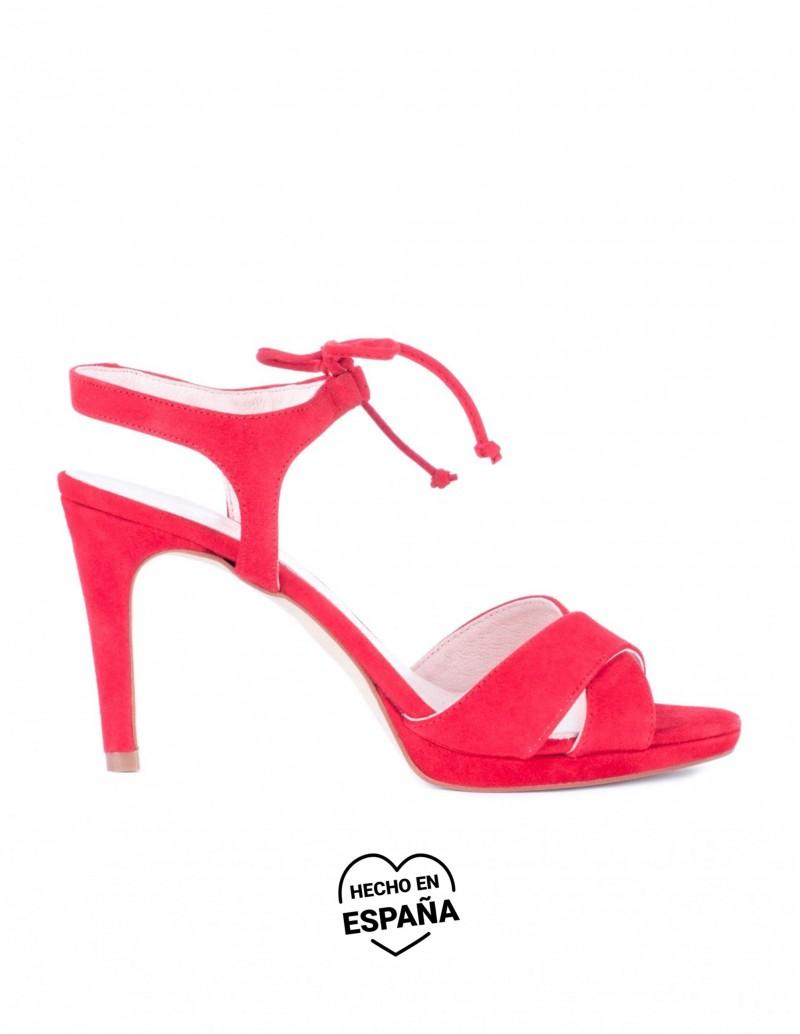 sandalias tacon cordones rojos