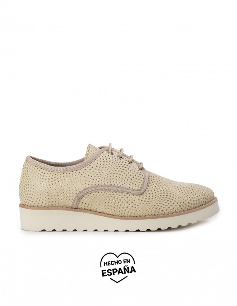 NATURE Zapatos Cordones Piel Beige
